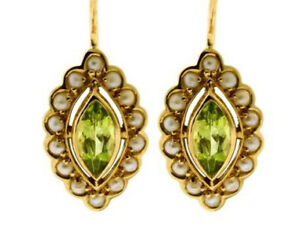 E243-Genuine-9ct-Yellow-Gold-NATURAL-Peridot-amp-Pearl-Cluster-Drop-Earrings
