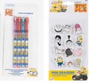 Despicable Me 3 Minion Rubber Pencil Eraser Set Stationery Toy disney school