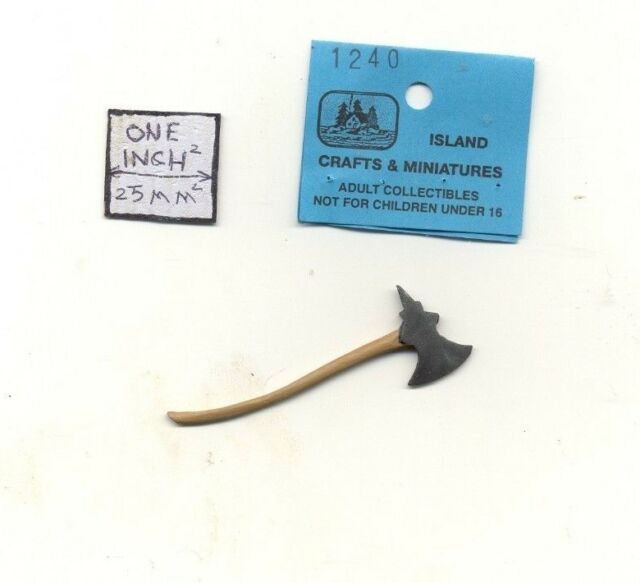 """1//12 scale weapon 4.25/"""" metal axe with spike plastic handle"""