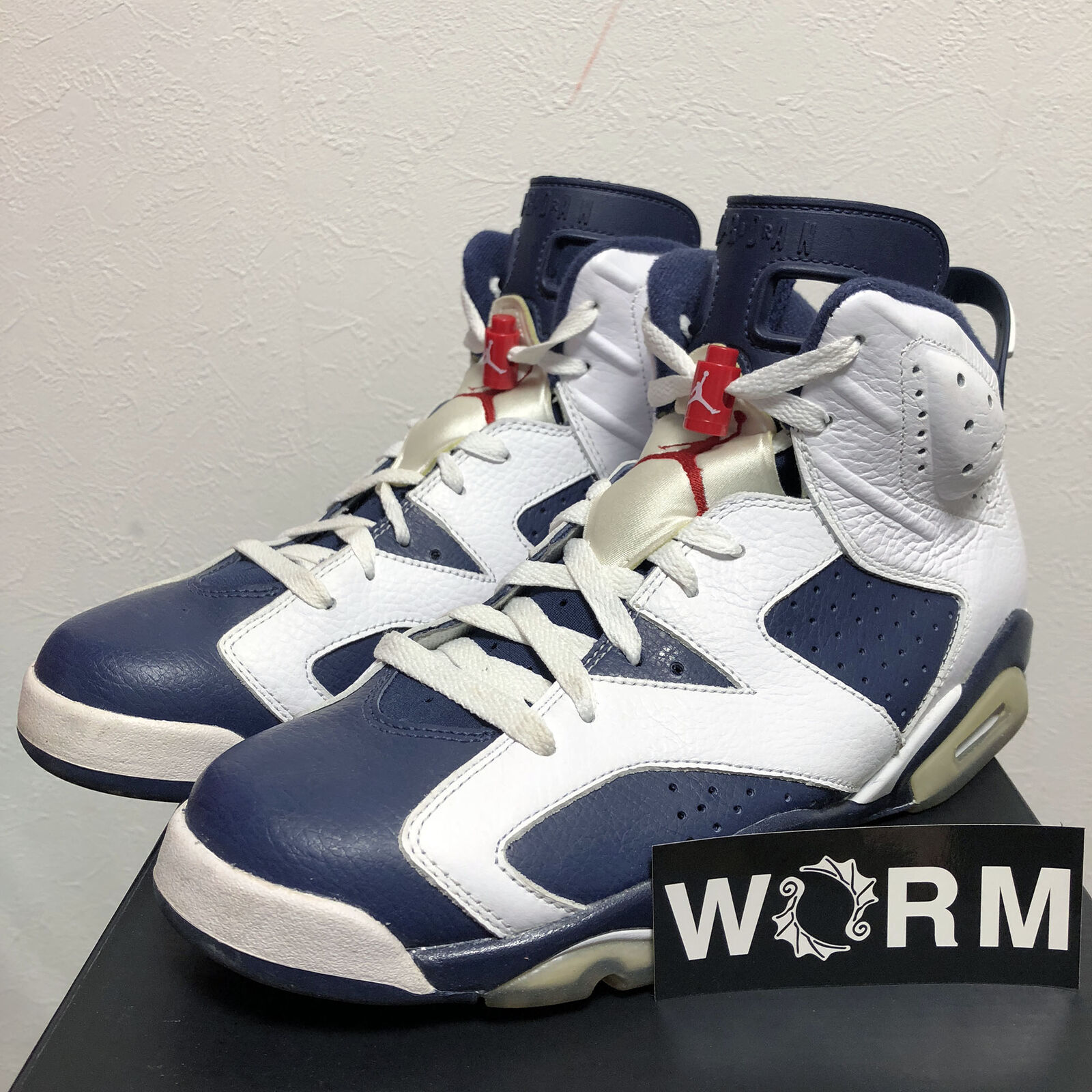 NIKE AIR JORDAN 6 RETRO 384664-130 white midnight navy-vrsty red 10.5us