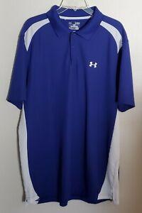 Under Armour Men's Golf Polo Shirt Size XL Loose Fit Heat Gear Blue White