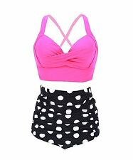 Plus Size High Waist Vintage Retro Bikini Push Up Separate Swimwear Polka Dots