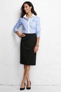 Lands-End-Women-039-s-Black-Wear-to-Work-Pencil-Skirt-Size-8-24-034-lgth-Reg-Free-Ship