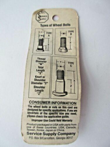 "Wheel Lug Stud Bolt 1//2/""-20R 1-9//16/"" .645 Knurl Wheel Pac 98142 NOS"
