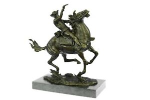 Signed Cowboy Remington Horse Bronze Sculpture Figurine Statue Animal Figure Art