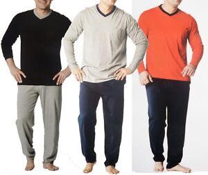 ecde30f17bc56 Das Bild wird geladen Herren-Pyjama-Schlafanzug-lang-Nachtwaesche-Schlaf -Anzug-M-L-