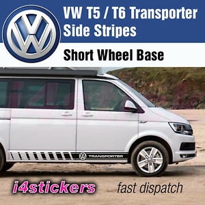 VW-T5-T6-Transporter-Rayas-Laterales-Calcomanias-Graficos-Pegatinas-Vinilos-Todos-Los-Colores