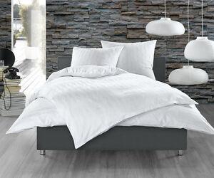 damast mako satin 100 baumwolle bettw sche einfarbig uni wei 135x200 240x220 ebay. Black Bedroom Furniture Sets. Home Design Ideas