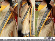 Beautiful Designer Party Wear Cream Color Chanderi silk Fabric Saree