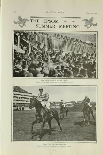 1903 PRINT EPSOM SUMMER MEETING FRENCH HORSE DERBY ROCK SAND VINICIUS FLOTSAM