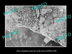 OLD-LARGE-HISTORIC-PHOTO-DOVER-ENGLAND-AERIAL-VIEW-OF-THE-TOWN-IN-WWII-c1940