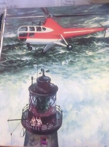 L2-8-Ephemera-1950s-Book-Plate-Helicopter-Lighthouse-Rescue