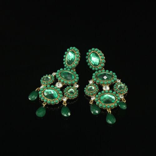 Boucles d/'Oreilles Clous Gros Chandelier Capri Iconic Vert Vintage Baroque XX 6
