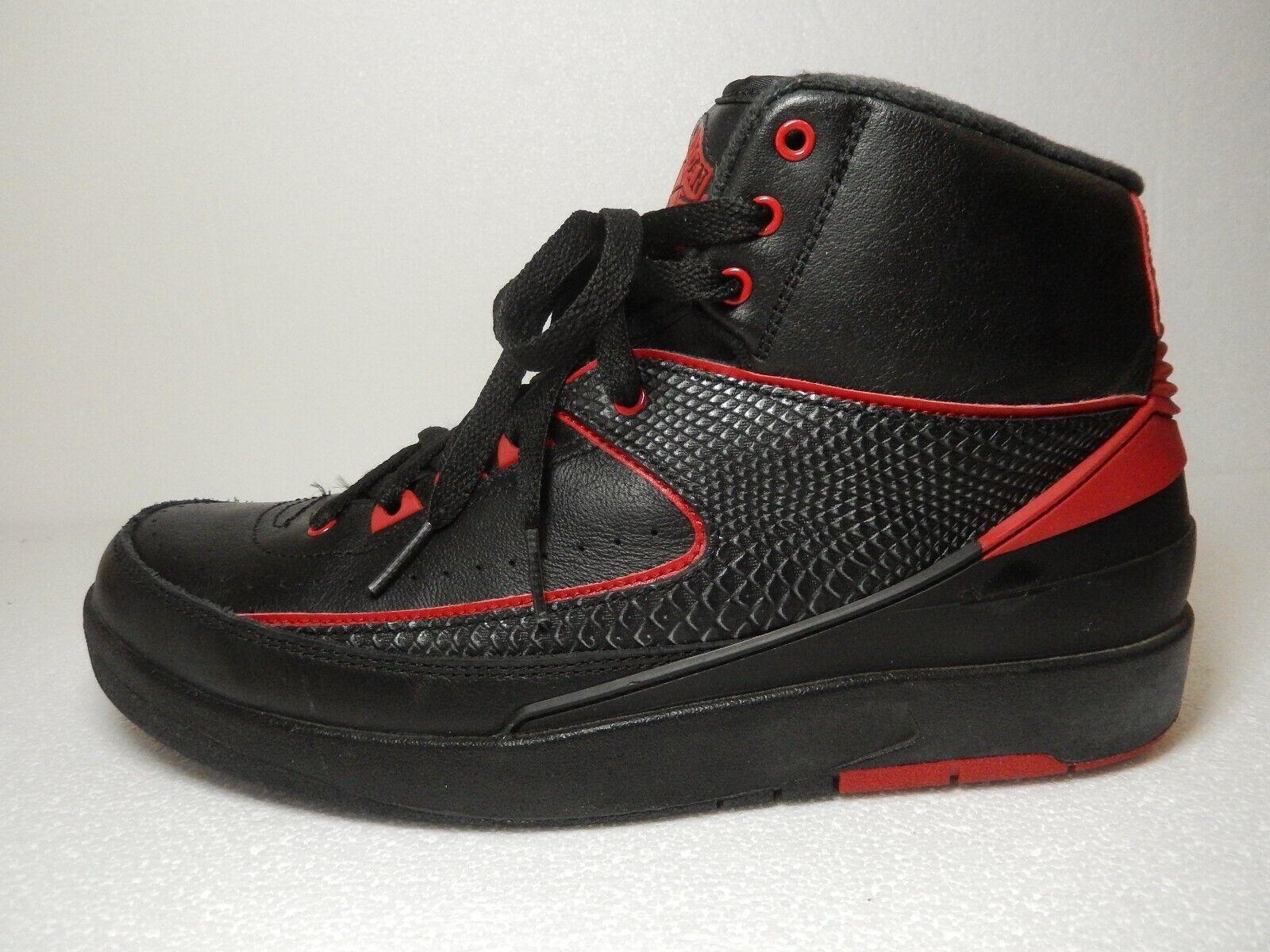 NICE-Air Jordan 2 II Retro Alternate 87 Black Varsity Red 834274-001 Mens Size 9
