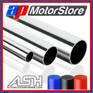 Stainless-Steel-Metal-Pipe-Straight-Hose-Tube-Polished-Exhaust-Select-Size