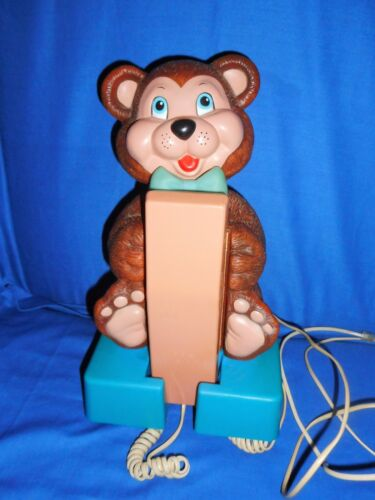 VINTAGE PHONE teddy bear plastic telephone novelty