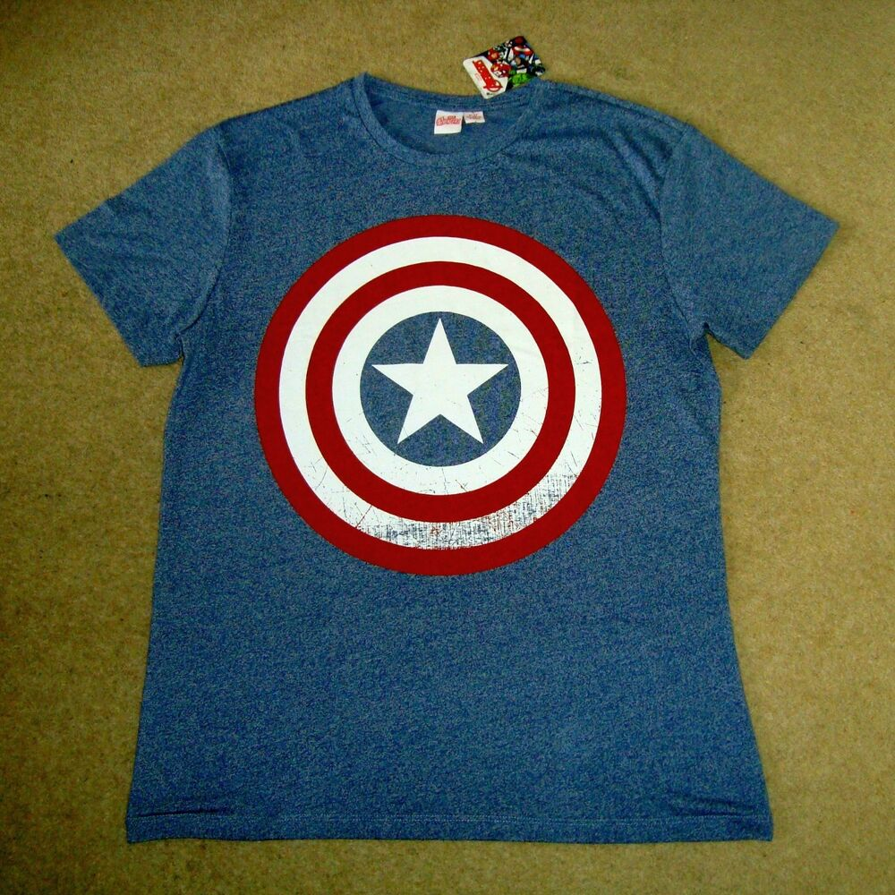 Men's Captain America Official Tee Bnwt Taille L T-shirt Homme Avengers Shield