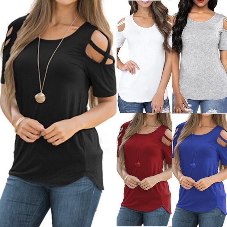 WHOLESALE BULK LOT 10 MIXED COLOUR Größe Cross Off Shoulder T-Shirt Blouse T173