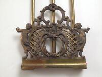 Victorian Brass Sliding Book Rack Cherubs / Children  Lattice