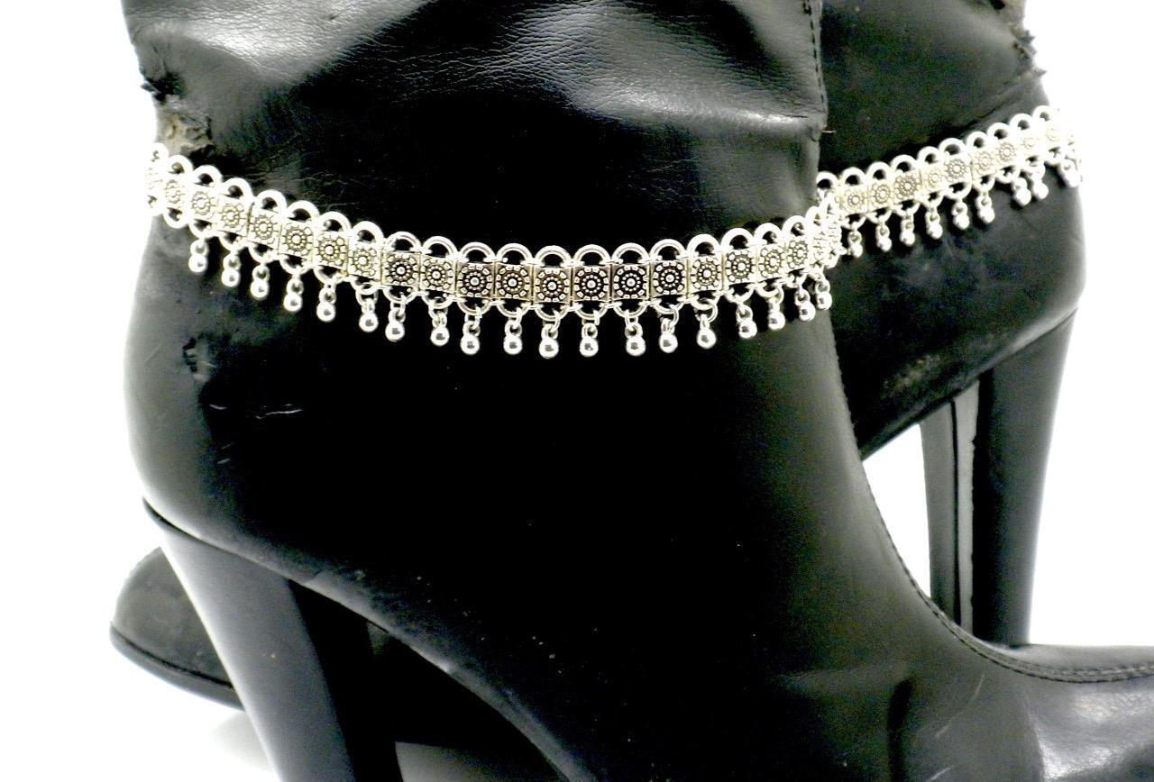New Boot Straps Shoe Ankle Chain Women Silver Flower Motorcycle Biker Pair