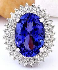 11.36CTW NATURAL TANZANITE AND DIAMOND RING IN 14K WHITE GOLD