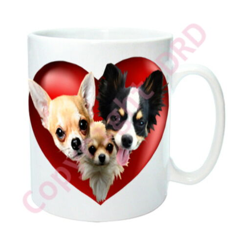 Birthday Gift Xmas Mothers Day Gift Chihuahuas Gift 3 Dogs on Hearts on Mug