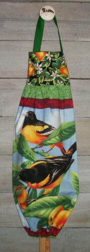 Baltimore Oriole Birds Oranges Plastic Grocery Bag Rag Sock Holder Organizer