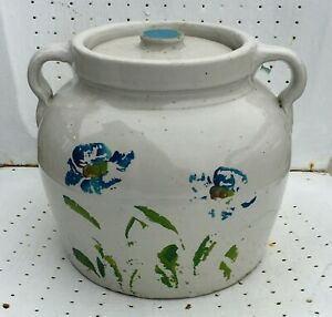 Cookie-Jar-Old-Vintage-Primitive-Stoneware-Pottery-Flowers-Handmade-Rare-Rustic