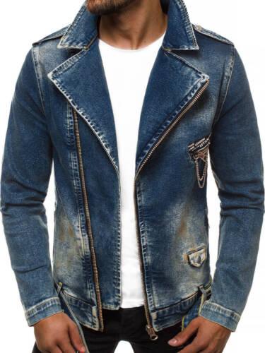 Jeansjacke Denim Vintage Frayed Übergangsjacke Jeans Herren OZONEE 11130 MIX