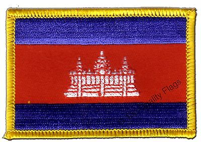 Cambodia Flag EMBROIDERED PATCH 8x6cm Badge