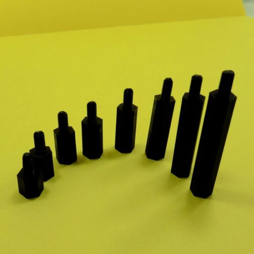 M3 Male Nylon Plastic Pillars Hex Standoff Spacers PCB Pillar Studs NUTS