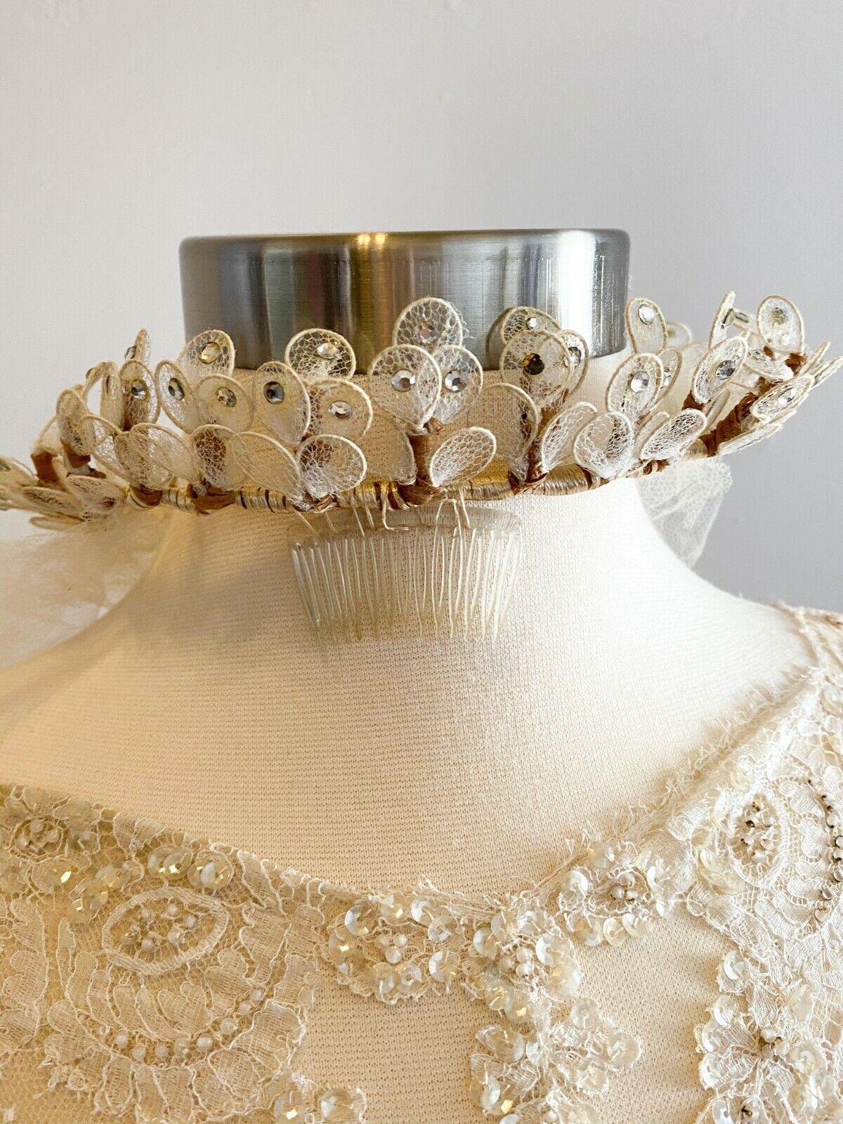 1950's Vintage Wedding Dress Lace w/Juliet Cap & … - image 11