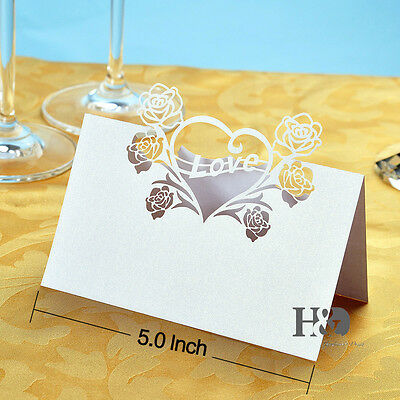 36 pcs Love Heart Laser Cut Table Name Place Cards Wedding Party Favor Decor