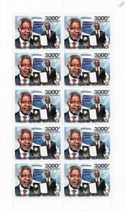Kofi Annan United Nations Secrétaire Général Des Nations Unies/prix Nobel De La Paix Timbre Feuille-ral / Nobel Peace Prize Stamp Sheetfr-fr Afficher Le Titre D'origine éConomisez 50-70%