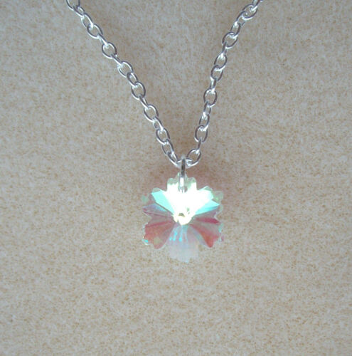 Pretty Clear AB Crystal Snowflake Flower Pendant S//P Chain Necklace in Gift Bag