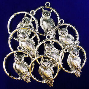 3Pcs-Newest-Carved-Tibetan-silver-Owl-Pendant-Bead-45x37x4mm