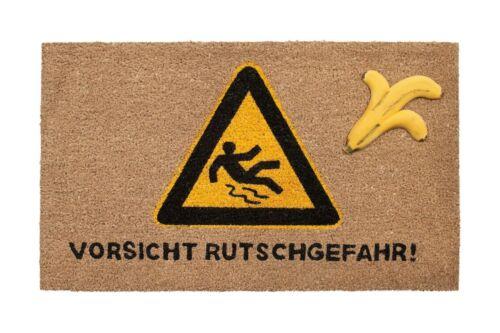 "Paillasson coco tapis avec banane /""attention Anti-Danger/"" 75x45cm la saleté tapis"