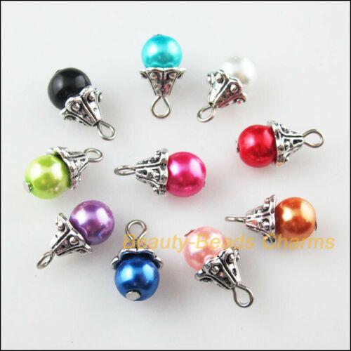 10 Nouveau cône Charm Mixte Ronde Perles De Verre Pendentif Tibetan Silver Tone 8.5x16.5mm
