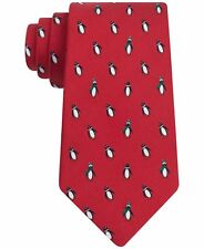 fd11652f0 Tommy Hilfiger Red Holiday Penguin Print Design 100 Silk Tie for ...