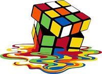 Rubiks Cube Melting Love 80's Iron On T Shirt Pillowcase Fabric Transfer 109