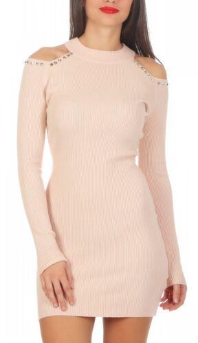 5520 Damen Feinstrick Pullover Strickkleid Minikleid Nieten schulterfrei