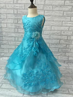Girls Formal Wedding Bridesmaid Party Flower embroidery Dress blue turquoise
