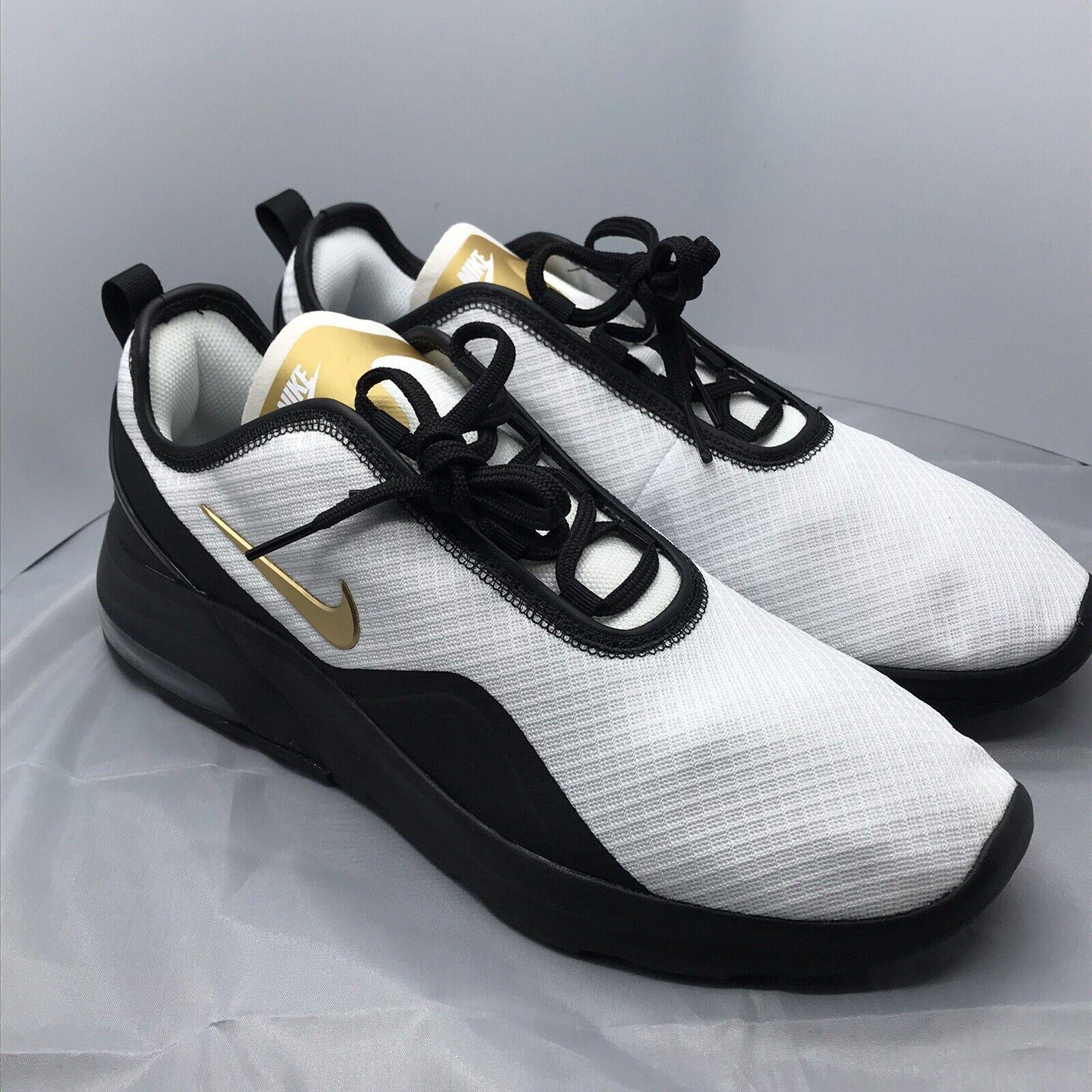 Nike Air Max Motion 2 Ct1103 001 Black White Metallic Gold Mens Size 12