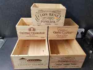 5 X Mixte Authentique Français En Bois Vin Caisses/boîtes D'atelier De Rangement Cuisine...-afficher Le Titre D'origine