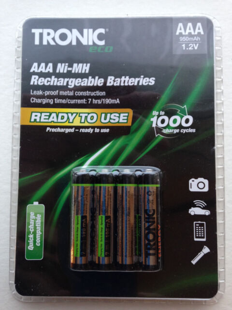 RECHARGABLE BATTERIES Battery 4X GERMAN 950 MAH AAA NIMH STAY CHARGED
