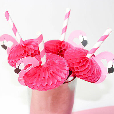 6 pcs Flamingo Trinken Strohhalme Vogel Hawaiian Beach Cocktail Party Geschirr
