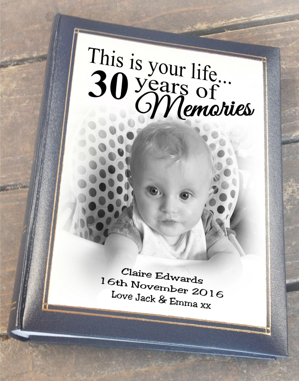 Personalised large photo album, 300 6x4  photos, 30th birthday christmas gift