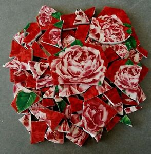 """90+ VIBRANT PINK ROSES MOSAIC TILES """"LEOPARD ROSE"""" by PUNCH STUDIO"""