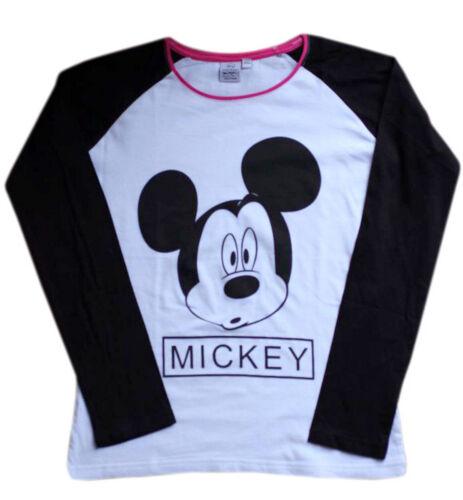 Original Disney Mickey Mouse White /& Black Girl/'s Full Sleeves T-Shirt