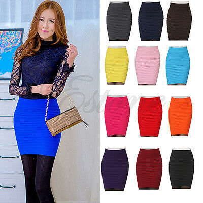 Candy Color Women Sexy A-Line Elastic High Waist Stretchy Slim Seamless Skirt